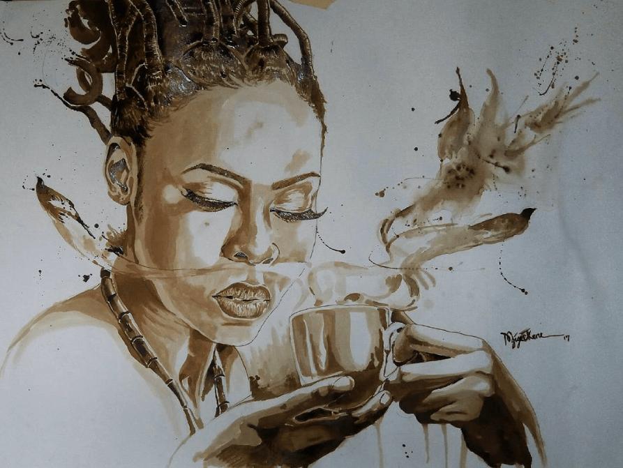 Ekene Ngige utilise le café pour produire des œuvres d'art ...
